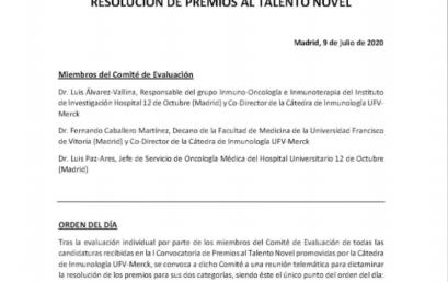 Resolución de la I Convocatoria de Premios al talento joven en Inmunología